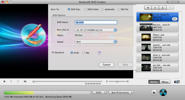 aimersoft mac dvd creator export